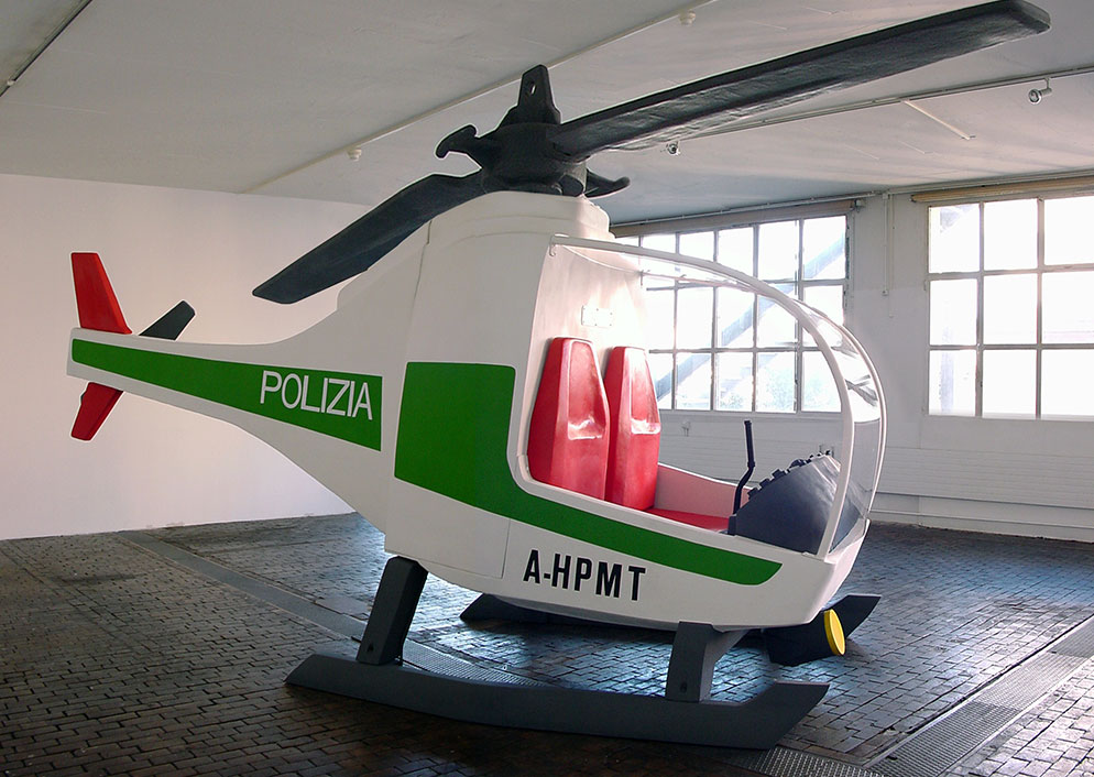 Helicopter sculpture in Geneva's Centre d'Art Contemporain