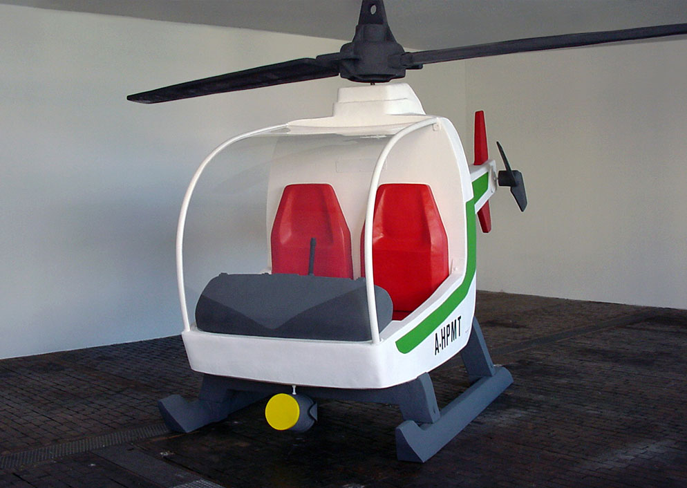 Helicopter sculpture in Geneva's Centre d'Art Contemporain