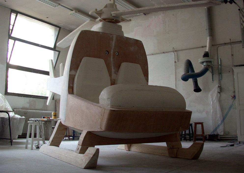 Helicopter sculpture in Ecole Supérieure d'Art de Grenoble